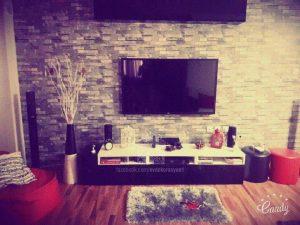 tv ünitesi taş duvar